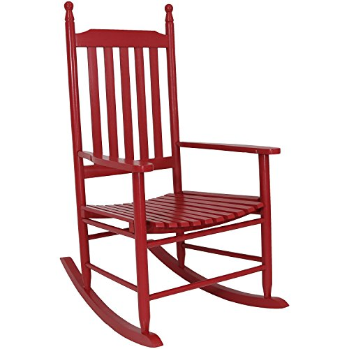 Deep Red Finish - Sunnydaze Wooden Rocking Chair Non-Toxic Paint Finish, Red