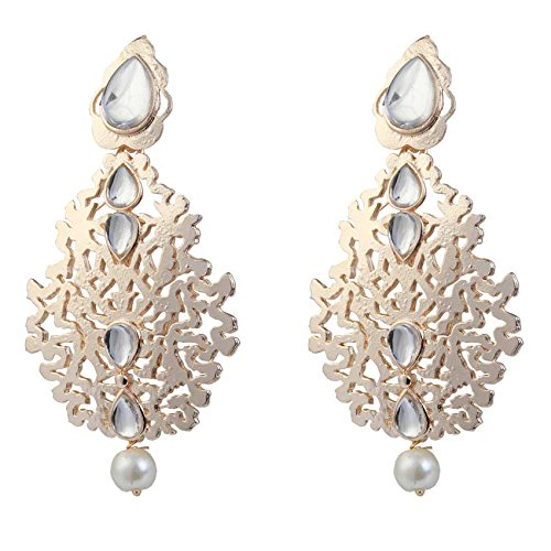 Kriaa Gold Plated Drop Earrings for Women (Gold) (1305008)