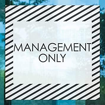 24x24 Management Only Stripes White Window Cling CGSignLab 5-Pack