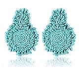 Statement Drop Earrings - Bohemian Beaded Round Dangle Earrings Gift for Women (Blue)