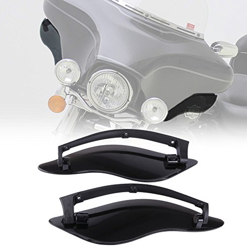 KIWI MASTER New 2 Pcs ABS Adjustable Side Wings Windshield Air Deflectors Fairing Side Cover Shield Compatible for 2014-2017 Harley touring Street Glide,Black