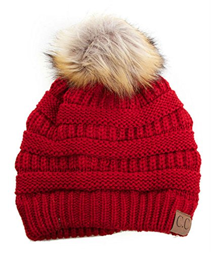 Soft Stretch Cable Knit Ribbed Faux Fur Pom Pom Beanie Hat (Red)
