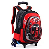 HIGOGOGO 3D Toy Car Nylon Schoolbag, Size:17''13''7''(HWT),Boys Girls 6 Wheels Waterproof Backpack with Reflective Tape Red
