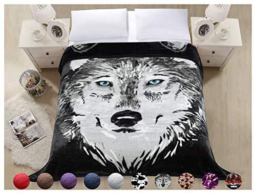 Silky Blanket Fleece (Superior Thick Warm Raschel Blanket,Double Layer Reversible Cozy,Silky,Fleece,Medium Weighted Plush Blanket,Queen Size 79x87 inches,Snow Wolf Head Printed,Hypoallergenic, Fade Resistant(GRAYWOLF))