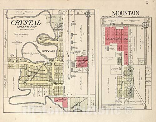 Crystal Dakota - Historic 1928 Map | Standard Atlas of Pembina County, North Dakota | Crystal, Crystal Twp; Mountain, Thingvalia Twp. 44in x 35in