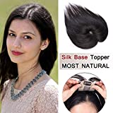 100% Density Top Hair Pieces Silk Base Crown Topper Human Hair Clip in Hair Toppers Top Hairpieces for Women with Thinning Hair Gray Hair/Hair Loss#1B Natural Black 14 inches 23g