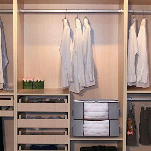 Gris Bolsa de Almacenamiento Plegable Ideal para Ropa Juego de 3 organizadores Grandes Plegables dormitorios y m/ás Ventana Transparente y Asas de Transporte Mantas armarios HGYB