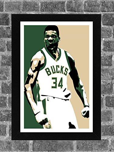 Milwaukee Bucks Giannis Antetokounmpo Portrait Sports Print Art
