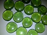 """TBC """"LIME GREEN"""" Decorative Gems: Beautiful Lime Green Stones, 100% Flat Glass Gem Stones. Use in Floral Arrangements, Table Scatters, Vase Fillers, Aquariums, Wet or Dry. Great for Eye Catching Centerpiece. 12 Ounce Bags. Size 16mm-18mm Per Stone"""