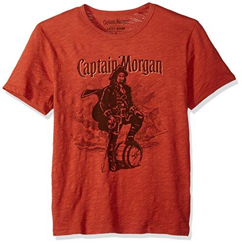 Lucky Brand Men's Captain Morgan Graphic Tee, Barn Red, XL