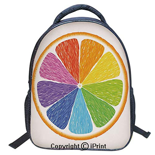 Designer Original Art Print Casual Backpack,Travel Backpack 16Inch Laptop Bag,16 inch,Rainbow Colored Orange Fresh Fruit Citrus Winter Season Food Diversity Equality Decorative