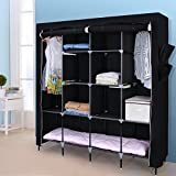 "SONGMICS 67"" Wardrobe Armoire Closet Clothes Storage Rack 12 Shelves 4 Side Pockets, Quick and Easy to Assemble, Black URYG44H"