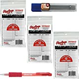 Rawlings Baseball/Softball Lineup Cards 3-Pack (36 Total Cards) Bundled With Gripadelic Pencil and Refill Pack