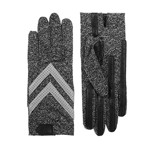isotoner Women's Spandex Stretch Shortie Cold Weather Gloves with Leather Palms and Chevron Details, smartDRI Black / Heather Grey Reflective, Small / Medium
