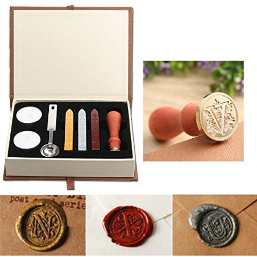 Wax Seal Stamp Kit,Mingting Vintage Wax Stamp Seal Kit Initial Letters Alphabet ()