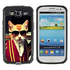 Hybrid Anti-Shock Defend Case for Samsung Galaxy S3 / Badass Kitty Cat