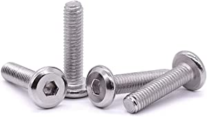"1/4-20 x 1-1/4"" (Pack of 50) Hex Socket Head Cap Screws Furniture Bolts, 304 Stainless Steel 18-8, Countersunk Connector Screws for Furniture Baby Bed Chairs, Bright Finish, Full Thread"
