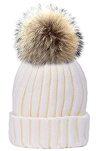 Odema Womens Girls Fur Pom Poms Beanie Winter Hats - Adult White Rabbit Hat
