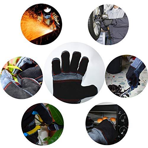 Work Gloves Leather Protection Gardening Glove (1 Pair) 16 inch Kevlar Cowhide Reinforced Padding Finger Heat Fire Resistant Oven Welding Animal Handling Bite Proof Dog Cat Scratch(Black-Grey)