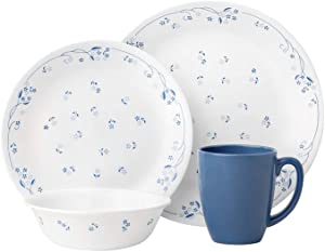 Corelle 16-Piece Vitrelle Glass Provincial Blue Chip and Break Resistant Dinner Set, Service for 4, Blue