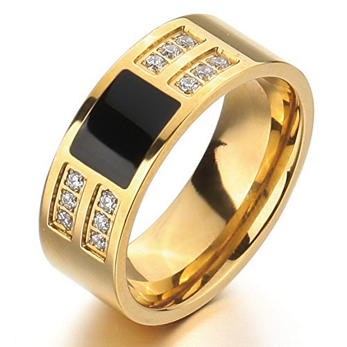 INBLUE Men's Stainless Steel Enamel Ring Band CZ Gold Tone Black Wedding ()