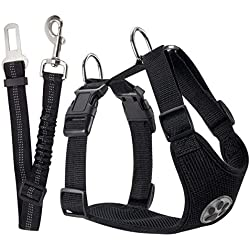 SlowTon Dog Car Harness Plus Connector Strap, Multifunction Adjustable Vest Harness Double Breathable Mesh Fabric with Car Vehicle Safety Seat Belt .(Black, X-Small)