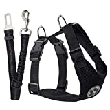 Slowton Dog Seat Belt Harness, Pet Car Harness with Seatbelt Leash Puppy Safety Vest Harness Adjustable Vehicle Mesh Harness Travel Strap for Small, Medium and Large Dogs