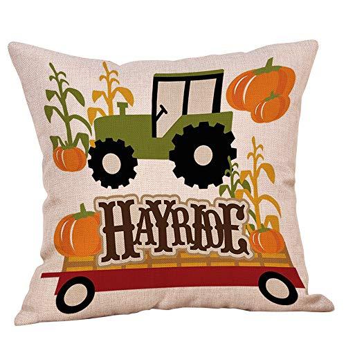 Halloween Decorations Pillows Case Pumpkin on Truck Pillowcases Thanksgiving Cushion Cover with Zipper 18 x 18 inch (08) ()
