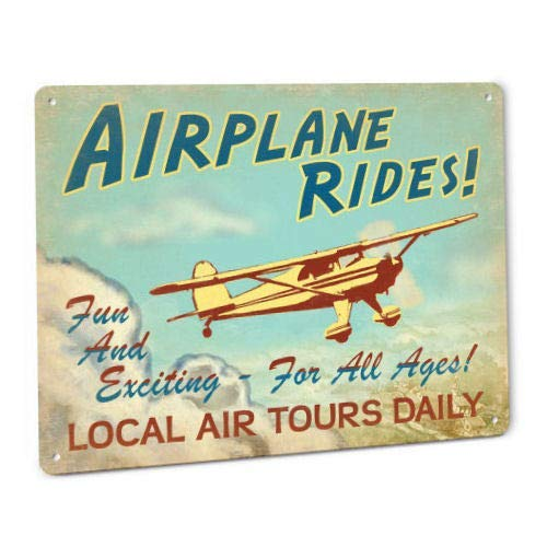 ShopForAllYou Vintage Decor Wall Signs Airplane Rides Sign Luscombe Vintage Aviation Pilot Ace Aircraft Aerospace Plane
