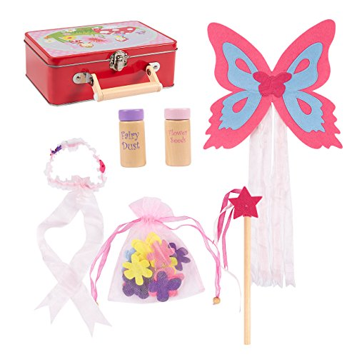 22-Piece Fairy Costume for Kids - Fairy Set, Pretend Play Fairy Kit, Fairy Wings for Girls, Fairy Accessories Set for Children, Includes Tin Suitcase