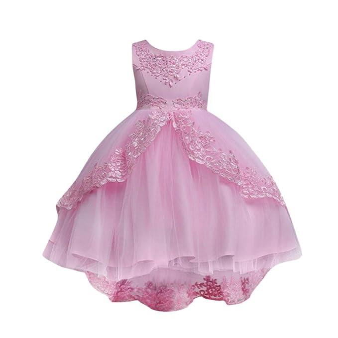 032d05add3 Vestido Lonshell Vestido Elegante para niñas Flor de la Boda de Encaje  Vestido de Princesa Vestido de Fiesta Ropa Formal Vestido de Bowknot de  Boda con ...