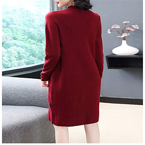 Rosso Maglione Sweater Bottoming Caldo Long Women's line Shirloy sleeved A Slim Vino Temperament Dress O4TwvZxHq