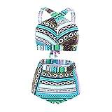 High Waisted Floral Bikini Front Cross Tribal Plus Size Swimwear-KJX005-BE7 5XL