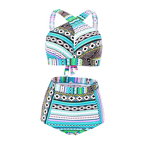 High Waisted Floral Bikini Front Cross Blue Tribal Plus Size Swimwear-KJX005-BE3