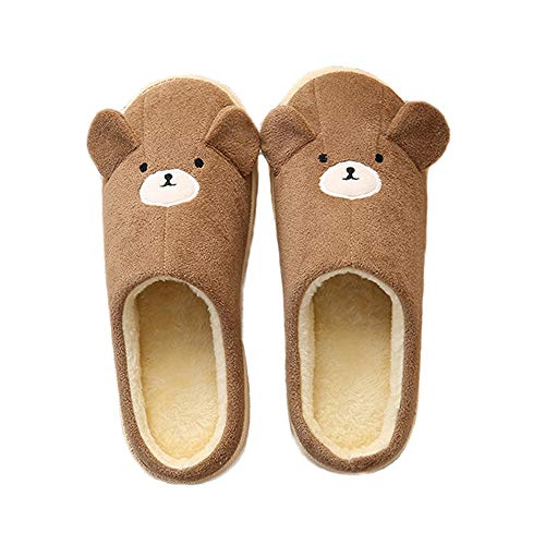 Unisex Cute Warm Slippers Brown JadeRich Pattern Bear Fleece House P1dq6xwzx5