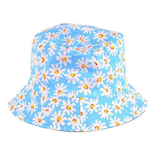 (BYOS Reversible Packable Summer Daisy Printed Cotton Bucket Sun Hat,Various Patterns (Daisy Light)