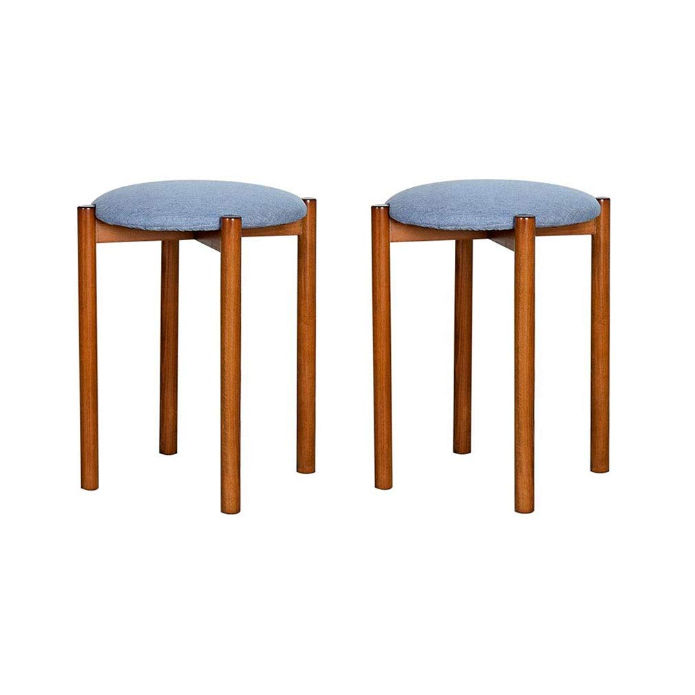 Astounding Amazon Com Ycsd Pack Of 2Solid Wood Fabric Padded Stool Gmtry Best Dining Table And Chair Ideas Images Gmtryco