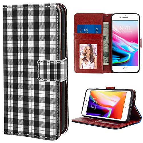 YaoLang iPhone 7 Plus iPhone 8 Plus Wallet Case, Black White Plaid Pattern PU Leather Standable Wallet Phone Case with Card Holder Magnetic Hold for iPhone 7/8 Plus