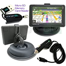 Chargercity OEM Beanbag Friction Mount Kit for Garmin Nuvi 1450 1450T 1470 1470T 1490 1490T GPS w/ Micro USB Card Reader, Bracket Cradle, Car Charger Vehicle Power Cable & Portable Garmin Dashboard Friction Mount (Manufacture Direct Replacement Warranty)