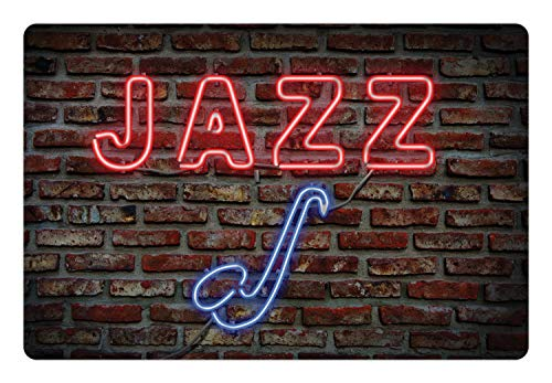 (Ambesonne Music Pet Mat for Food and Water, Image of Alluring Neon All Jazz Sign with Saxophone Instrument on Brick Wall Print, Rectangle Non-Slip Rubber Mat for Dogs and Cats,)