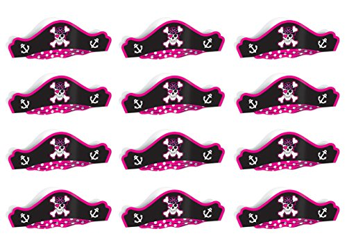 Beistle S66883AZ12 Pink Printed Pirate Hats 12 Piece,