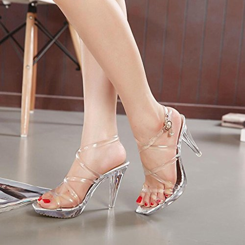 Sandals CJC High-Heeled Open Toe High Heels Thin High Heels Fashion Sexy Elegant Crystal. vXwQ6gZOyC
