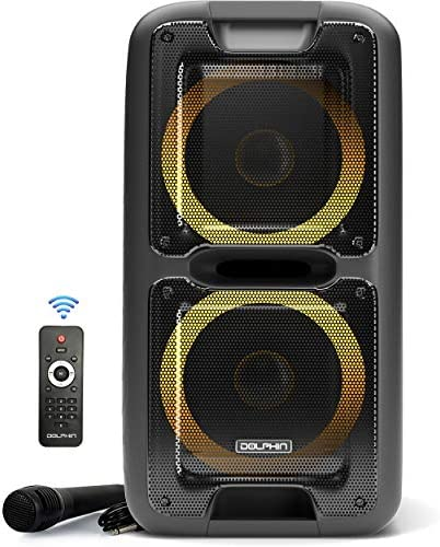 Occasion Speaker by Dolphin, Transportable Bluetooth Speaker on Wheels with Sound Activated Gentle Present (SP-2100RBT)