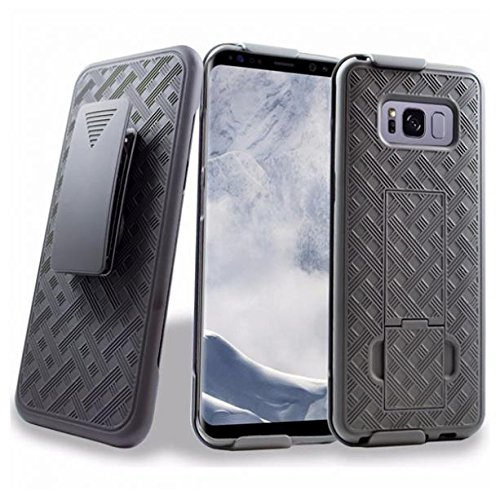 - T-Mobile Samsung Galaxy S8+ Case, Combo Shell Case w Kick-stand Swivel Belt Clip Holster Cover Black Protective Defender Shockproof for Samsung Galaxy S8+