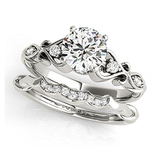 14K White Gold Unique Wedding Diamond Bridal Set Style MT50786