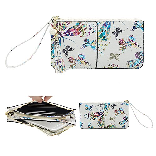 7 Tassels 6 Clutch iPhone Strap Wallet 8 Card Smartphone Butterfly slots Soft Plus Wrist With Spring Exquisite Wristlet pocket Fit Deer Cute Befen Wristlet Cash qIwTUy0U