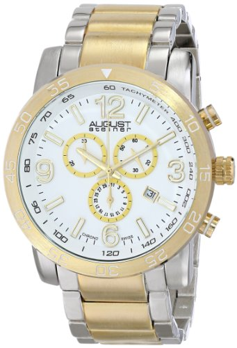 (August Steiner Men's AS8097TTG Swiss Quartz Chronograph White Dial Two-tone Bracelet Watch)