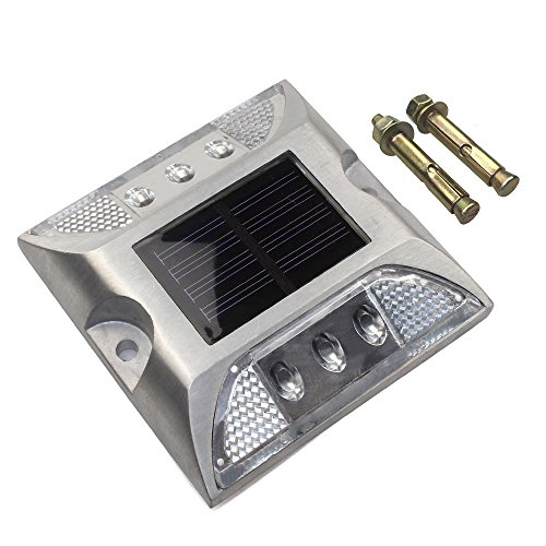 CST Lighting Aluminum Solar 6-LED Outdoor Road Driveway Dock Path Ground Light Lamp-White