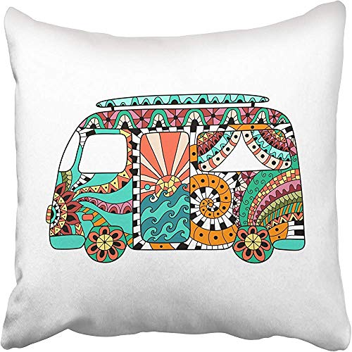 Staroutah Throw Pillow Covers 18 x 18 Inches Hippie Vintage Car Mini Van in Zentangle Colorful Bus Hippy Color Retro 1960S 60S Pillow Case Decorative Cushion Cover Two Sides Print Pillowcase (Van Hippy)