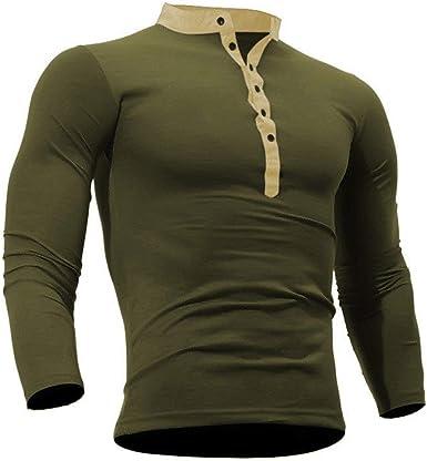 Camisa Polo con Botones De Manga Larga Slim Corte para Y Hombre Cómodo con Cuello Alto Camisa Deportiva De Ocio Sudadera Tops Otoño: Amazon.es: Ropa y accesorios